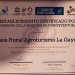 certificado reserva de la biosfera la gayria